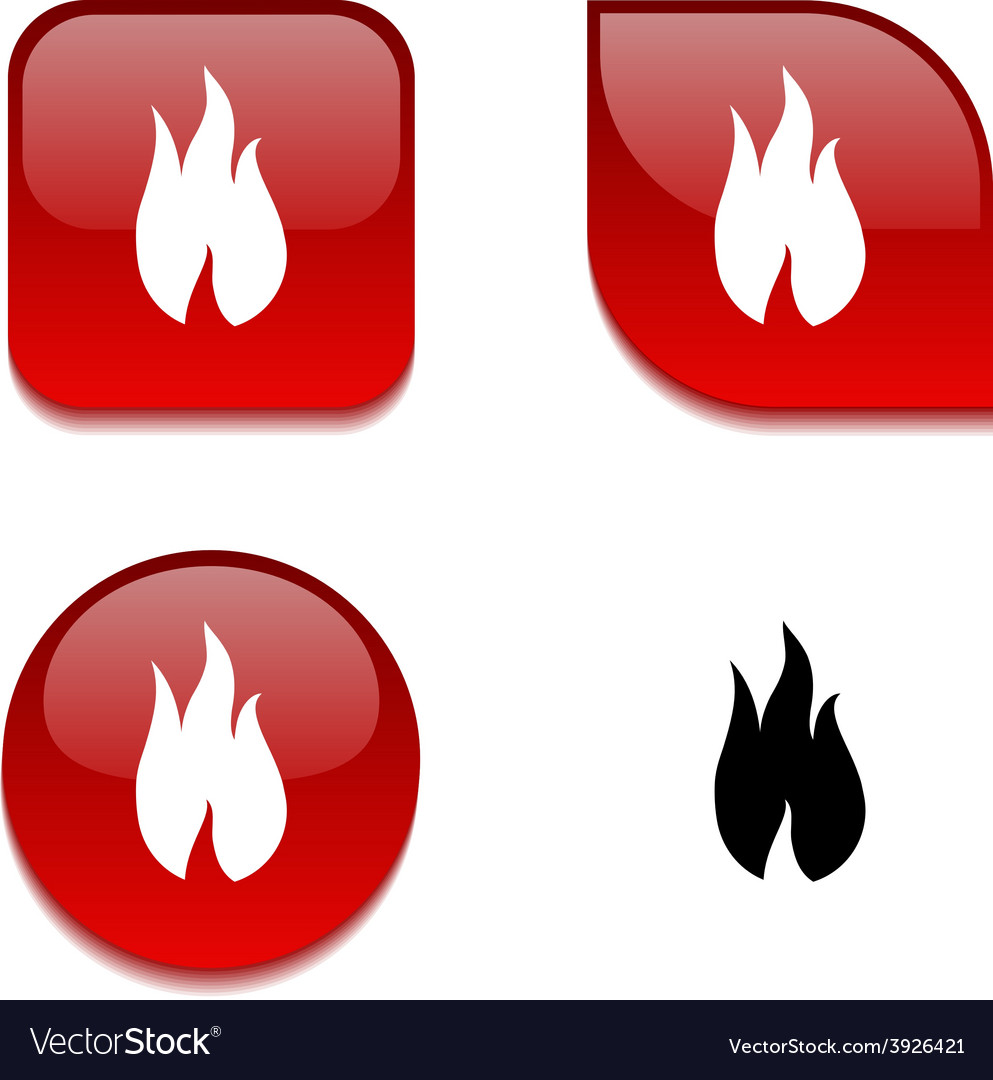 Fire glossy button vector | Price: 1 Credit (USD $1)