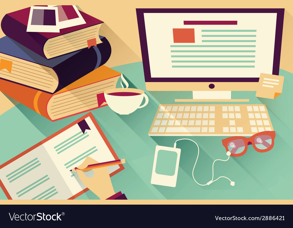 Flat design objects work desk office desk books vector | Price: 1 Credit (USD $1)