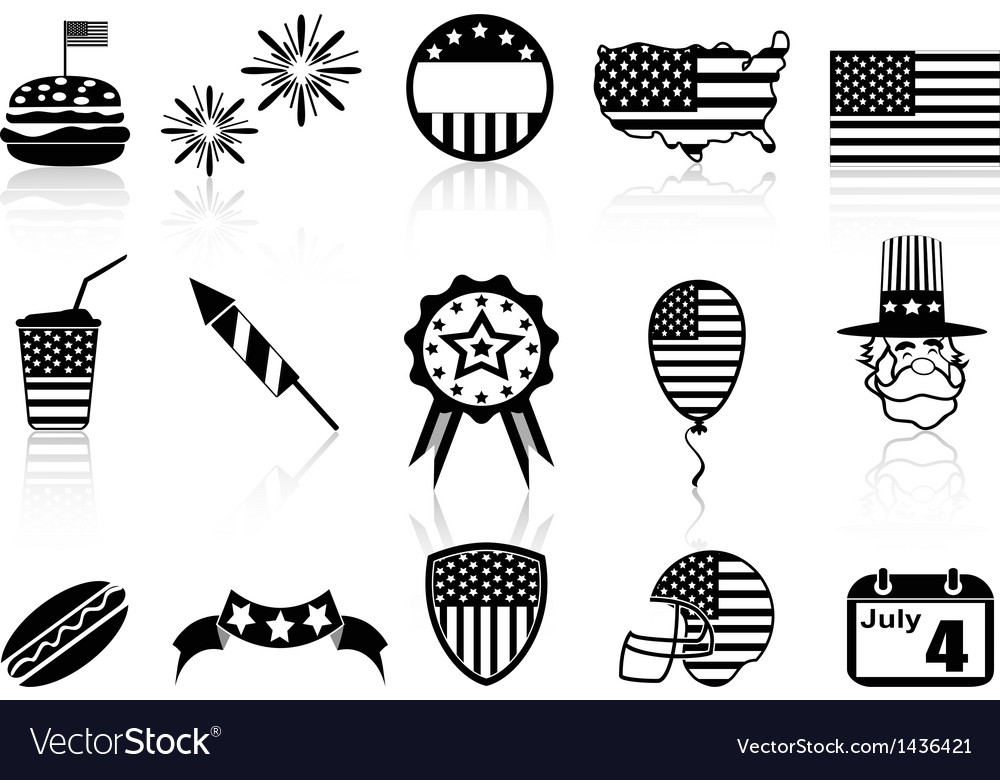 Fourth of july icons set vector | Price: 1 Credit (USD $1)