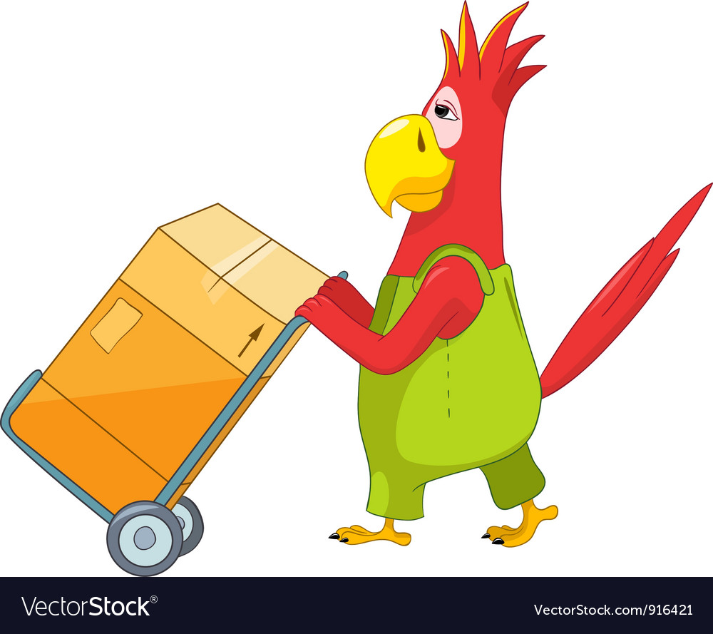 Funny parrot worker vector | Price: 1 Credit (USD $1)