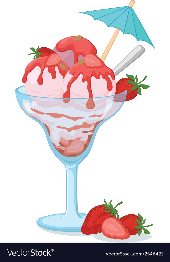 Glass with ice cream and strawberries vector | Price: 1 Credit (USD $1)