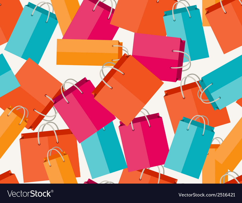Sale seamless pattern with shopping bags in flat vector | Price: 1 Credit (USD $1)