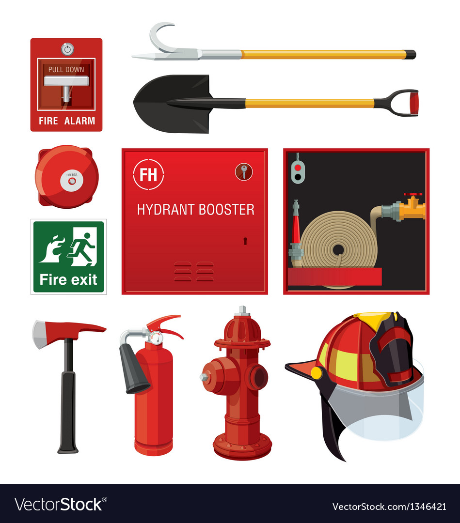Sey of fire fighting equipment vector | Price: 3 Credit (USD $3)