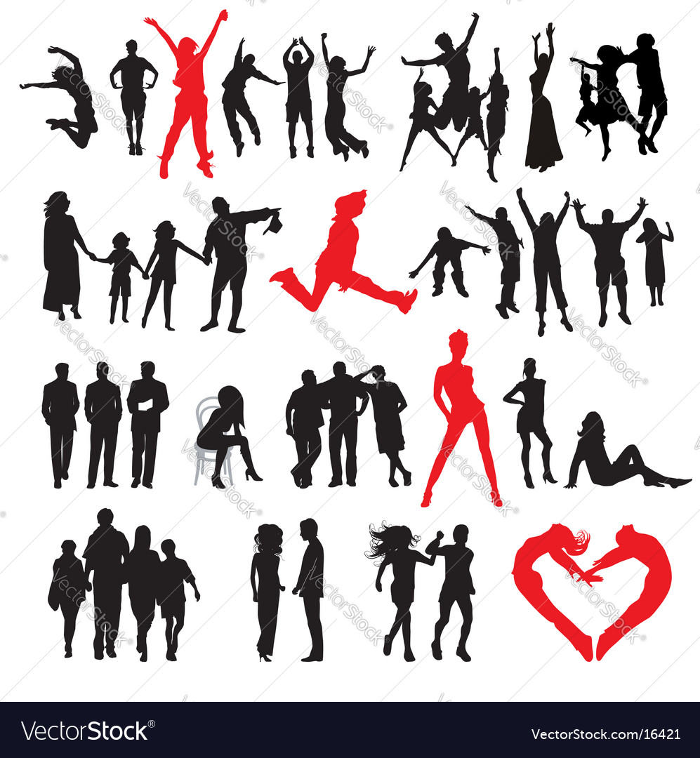 Silhouettes of peoples vector | Price: 3 Credit (USD $3)