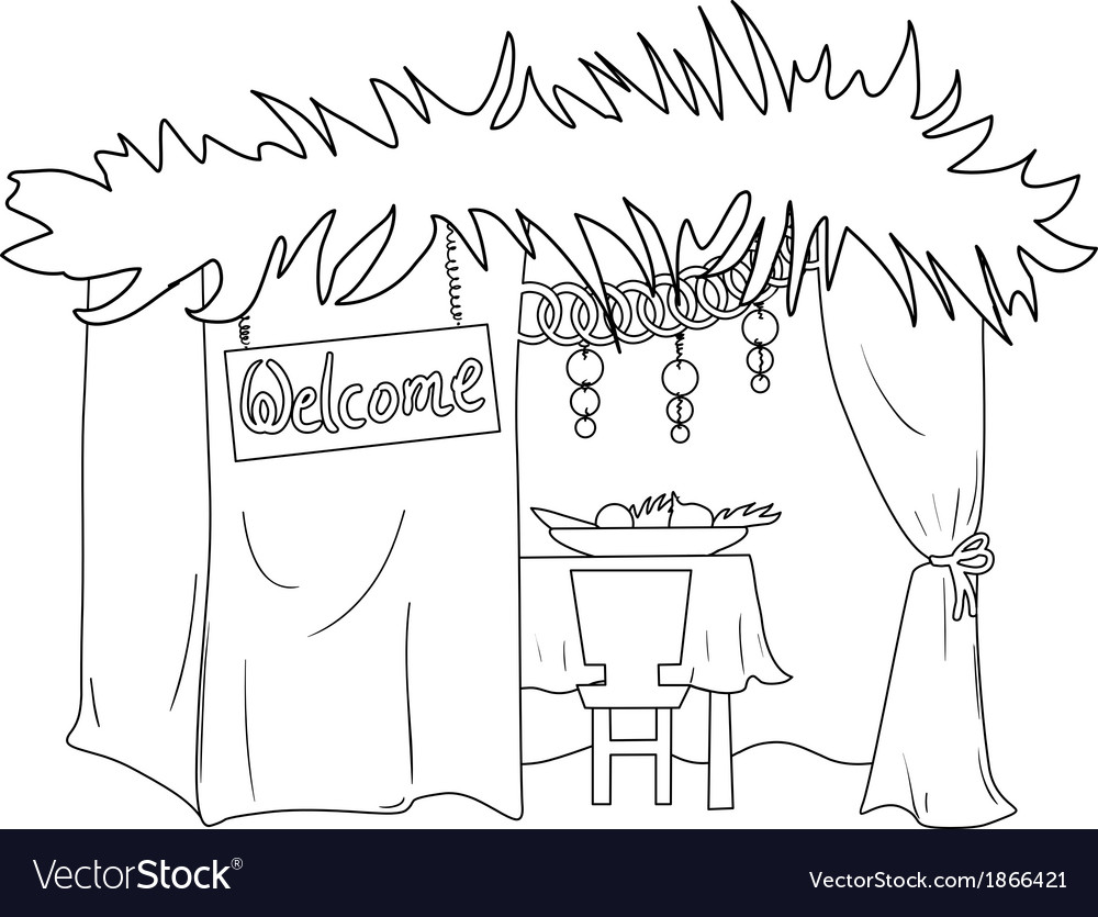Sukkah for sukkot coloring page vector | Price: 1 Credit (USD $1)