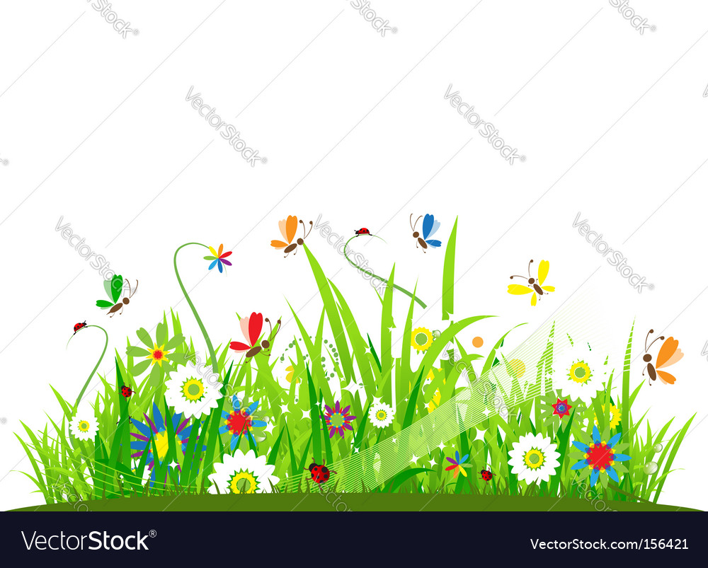 Summer meadow beautiful vector | Price: 1 Credit (USD $1)