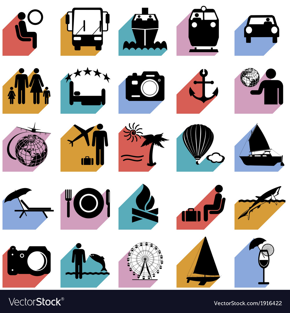 Collection flat icons with long shadow travel vector | Price: 1 Credit (USD $1)