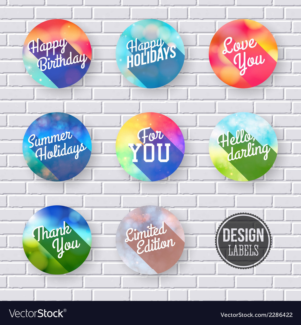 Colorful set of labels with long shadow vector | Price: 1 Credit (USD $1)