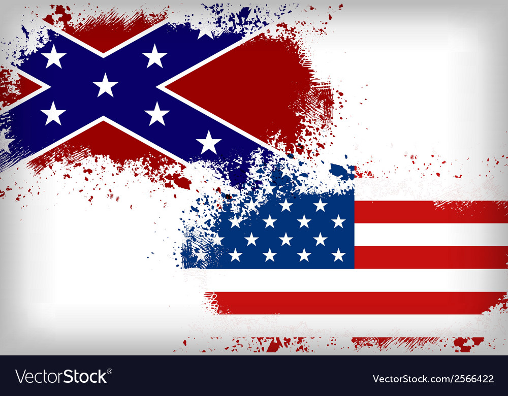 Confederate flag vs union flag civil war concept vector | Price: 1 Credit (USD $1)