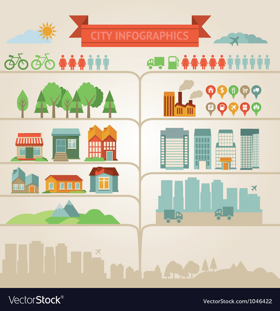 Design elements for infographics about city and vi vector | Price: 1 Credit (USD $1)