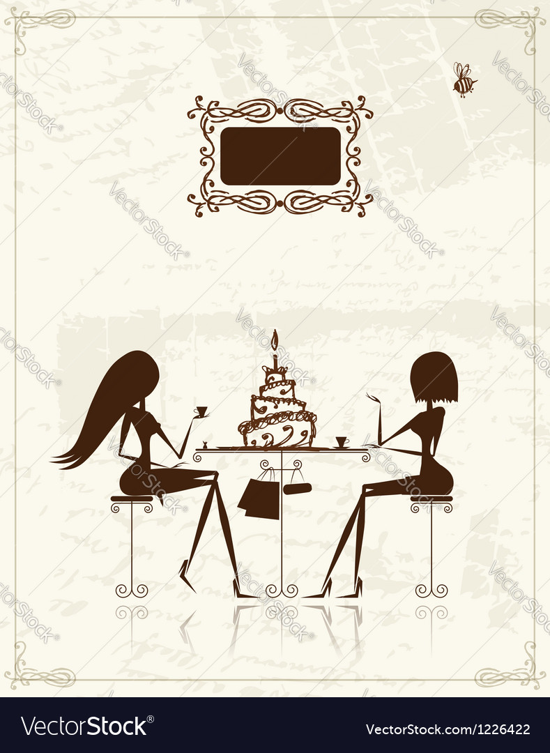 Fashion girls in cafe for your design vector | Price: 1 Credit (USD $1)