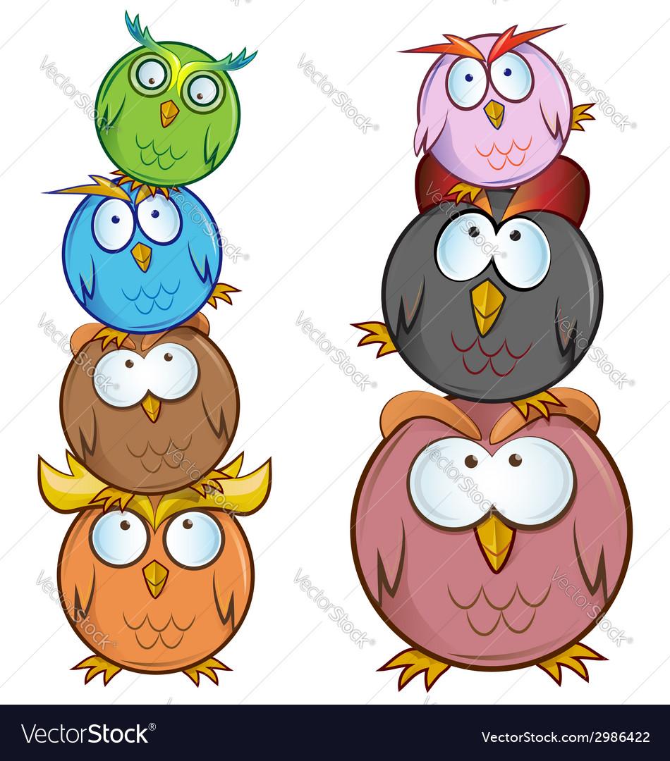 Funny owl cartoon group vector | Price: 1 Credit (USD $1)