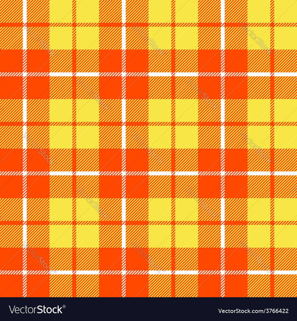 Orange and yellow tartan fabric texture in a vector | Price: 1 Credit (USD $1)