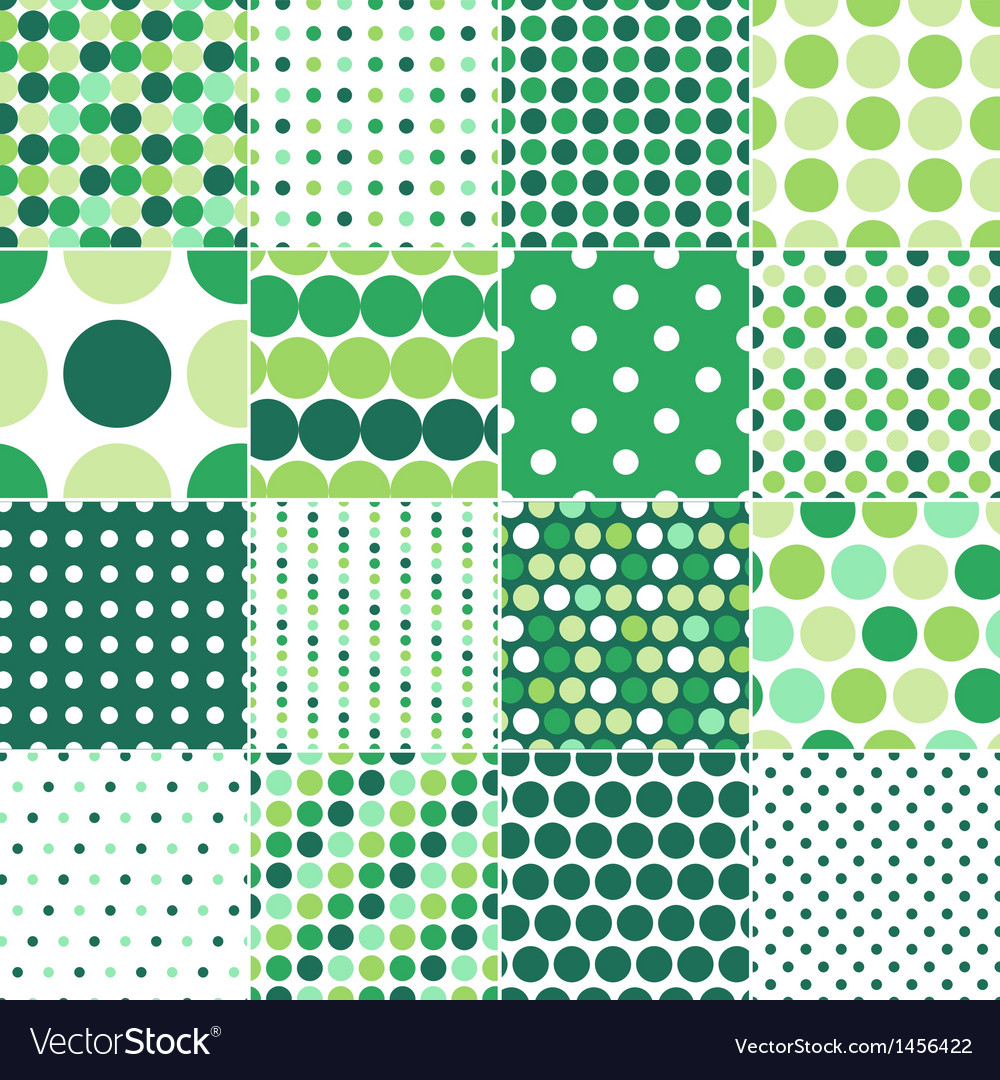 Seamless green polka dots background vector | Price: 1 Credit (USD $1)