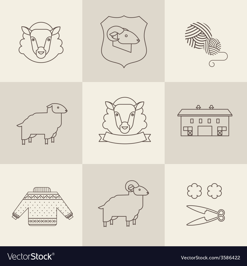 Sheep set vector | Price: 1 Credit (USD $1)