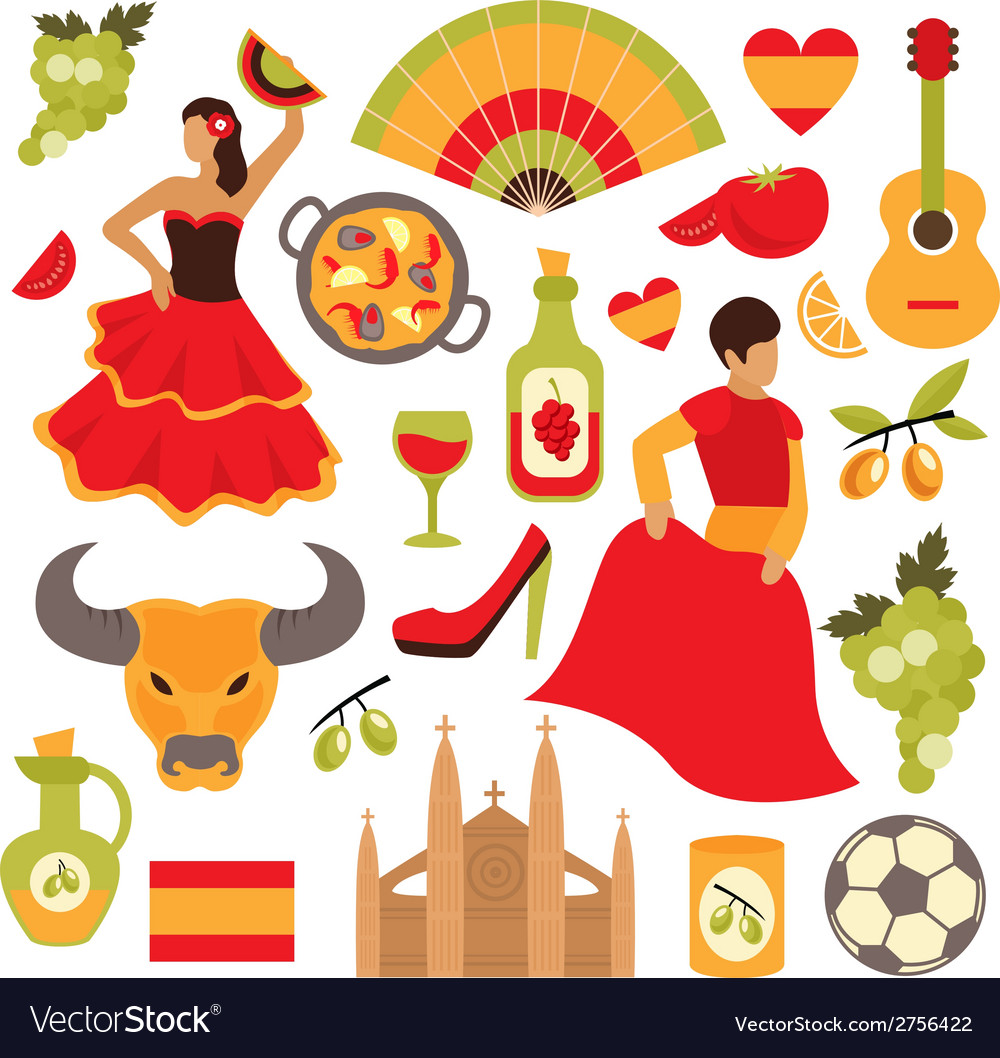 Spain icons set vector | Price: 1 Credit (USD $1)