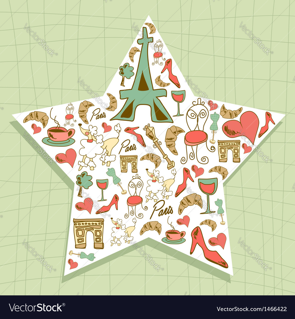 Travel paris icon set star vector | Price: 1 Credit (USD $1)