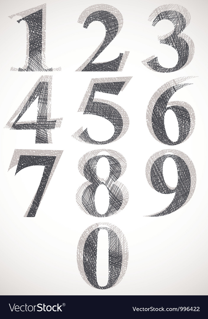 Vintage style numbers typeset vector | Price: 1 Credit (USD $1)