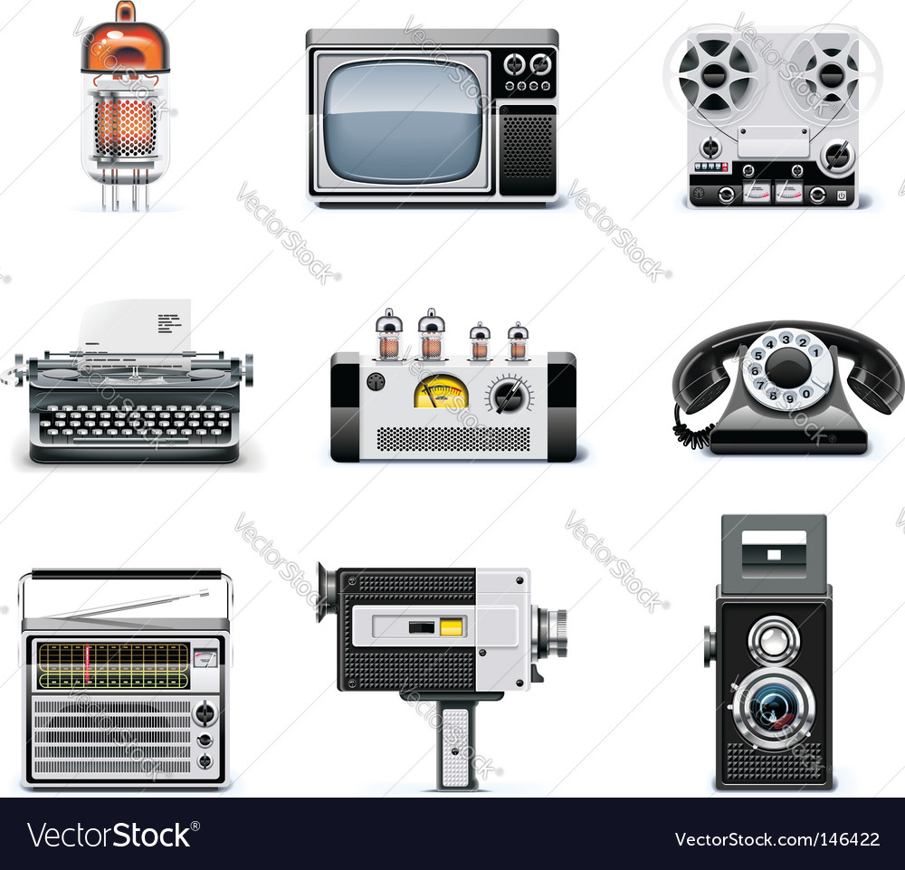 Vintage technologies icon set vector | Price: 5 Credit (USD $5)