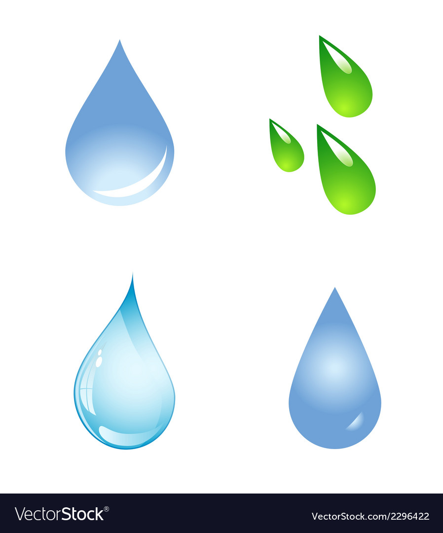 Water drop shapes collection icon set vector | Price: 1 Credit (USD $1)
