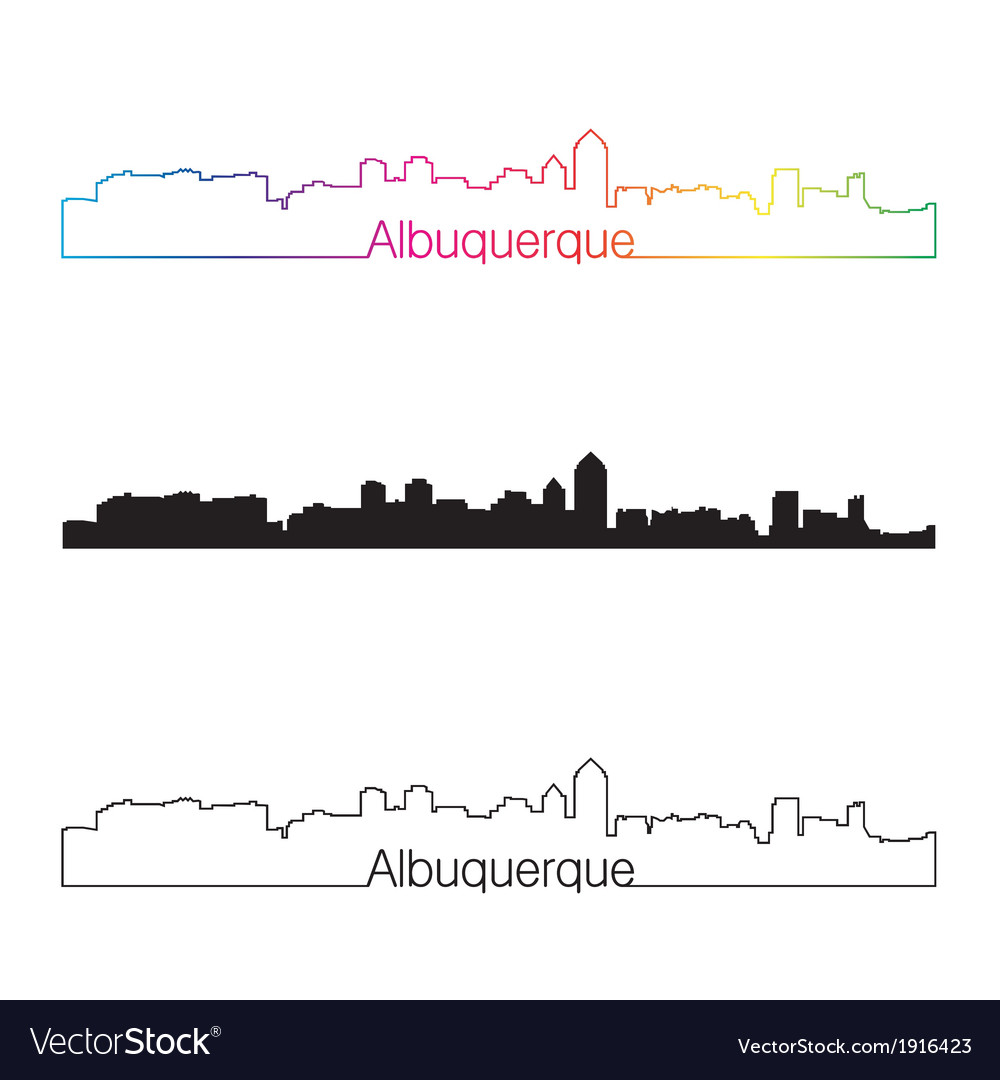 Albuquerque skyline linear style with rainbow vector | Price: 1 Credit (USD $1)