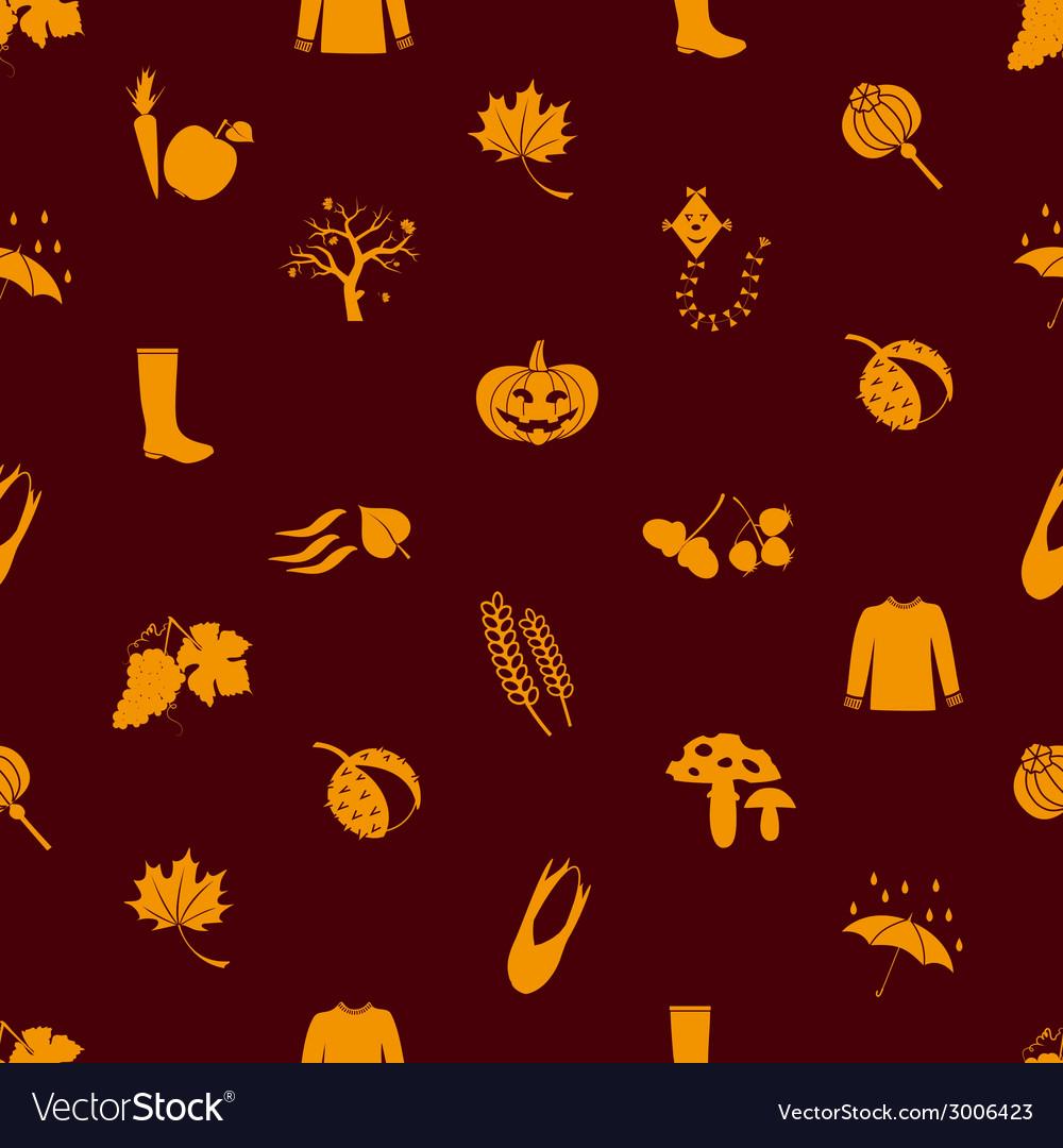 Autumn icons orange seamless pattern eps10 vector | Price: 1 Credit (USD $1)