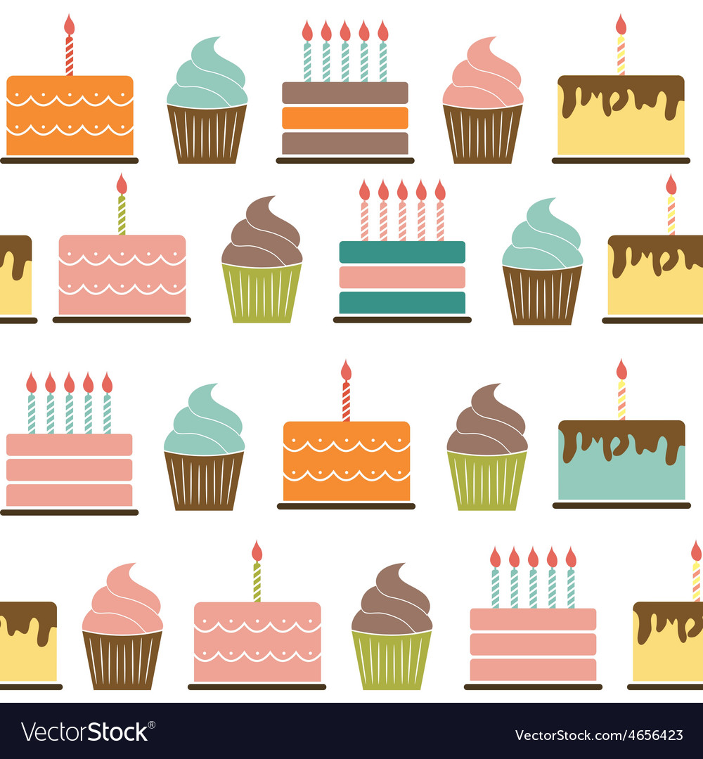 Birthday cake flat seamless pattern background vector | Price: 1 Credit (USD $1)