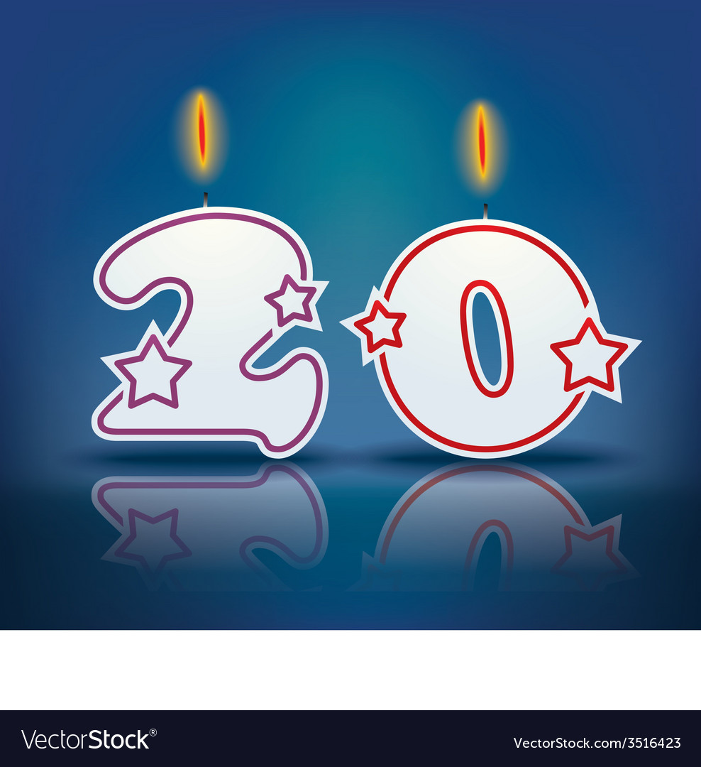 Birthday candle number 20 vector | Price: 1 Credit (USD $1)