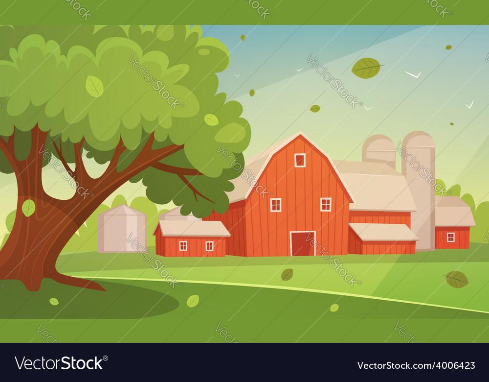 Farm cartoon landscape vector | Price: 5 Credit (USD $5)