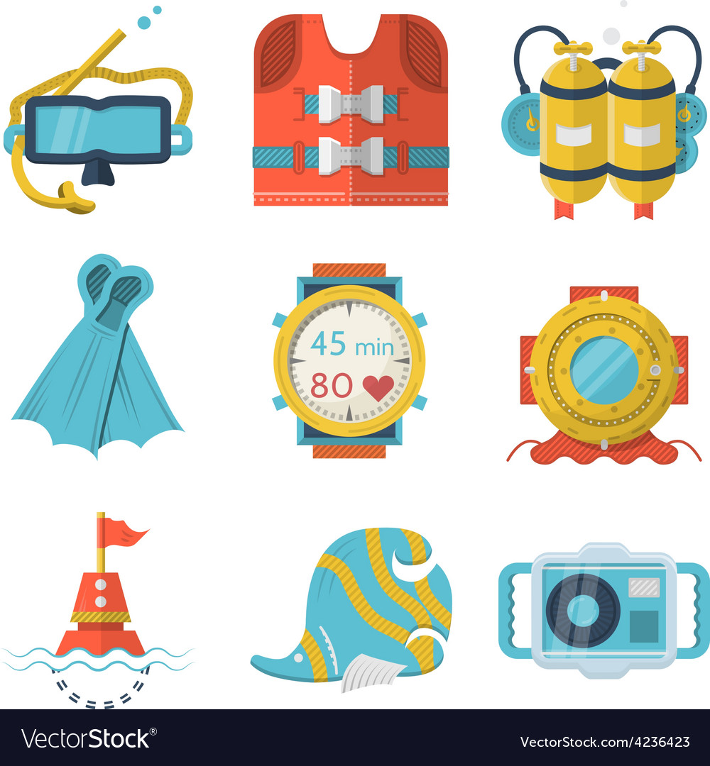 Flat color style diving icons vector | Price: 1 Credit (USD $1)