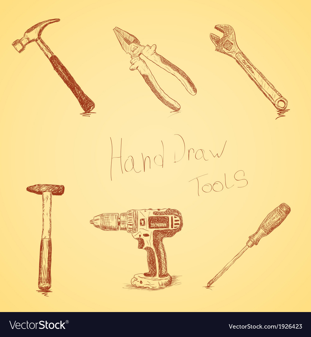 Hand-draw tools set vector | Price: 1 Credit (USD $1)