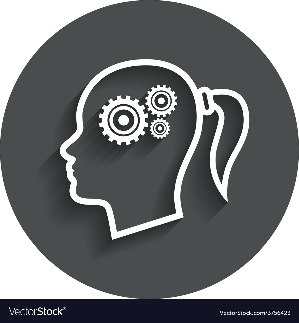 Head with gears sign icon female woman head vector   Price: 1 Credit (USD $1)