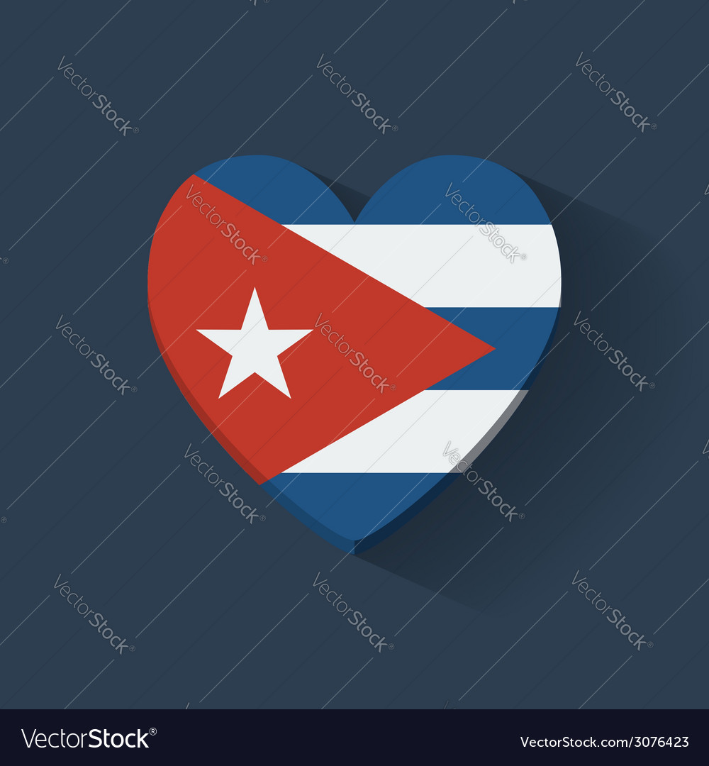 Heartshaped icon with flag of cuba vector