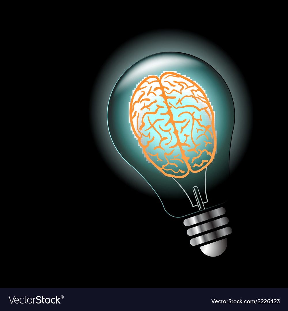 Luminous idea light bulb with brain inside vector | Price: 1 Credit (USD $1)