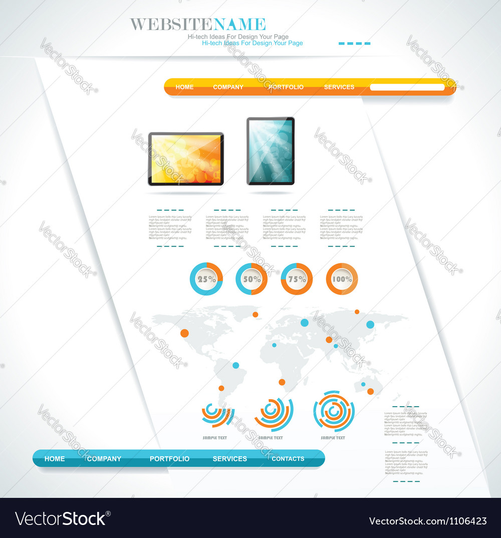 Modern web site editable template vector | Price: 1 Credit (USD $1)