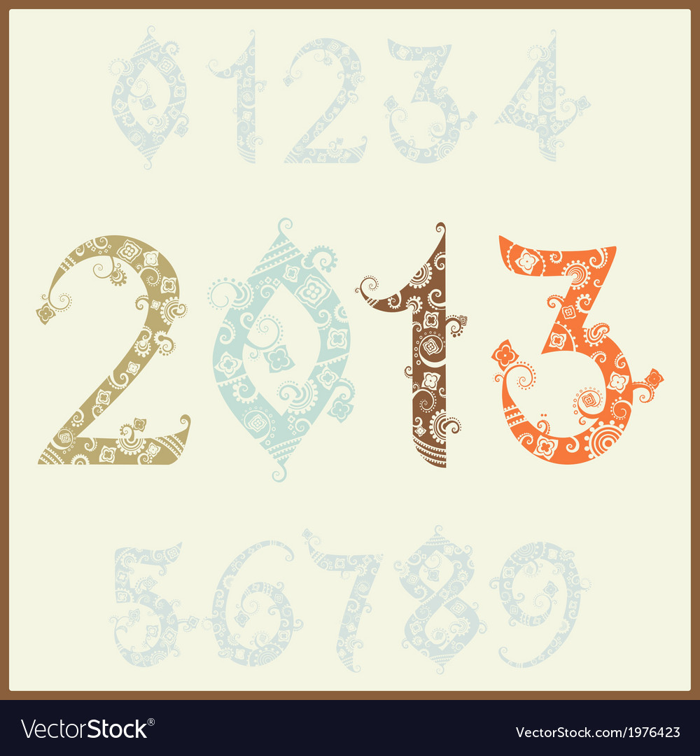New year 2013 two thousand and thirteen set of vector | Price: 1 Credit (USD $1)