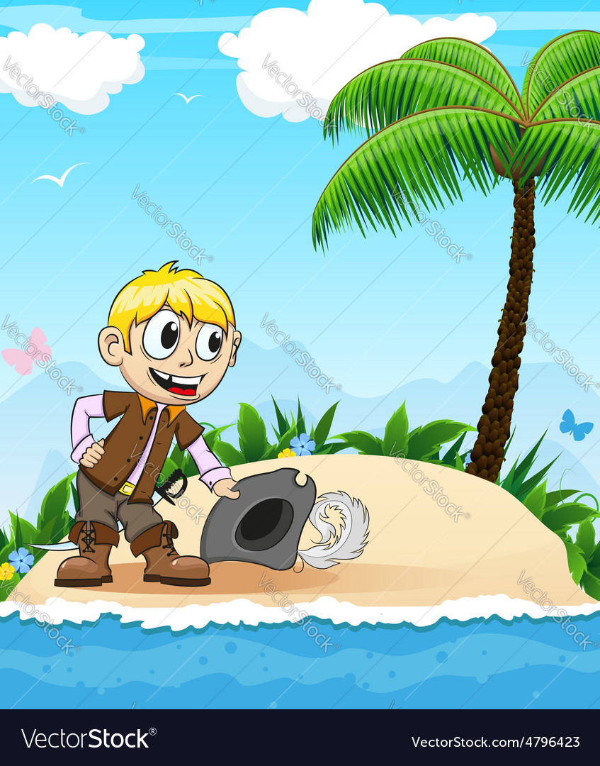 Pirate on a desert island vector | Price: 3 Credit (USD $3)