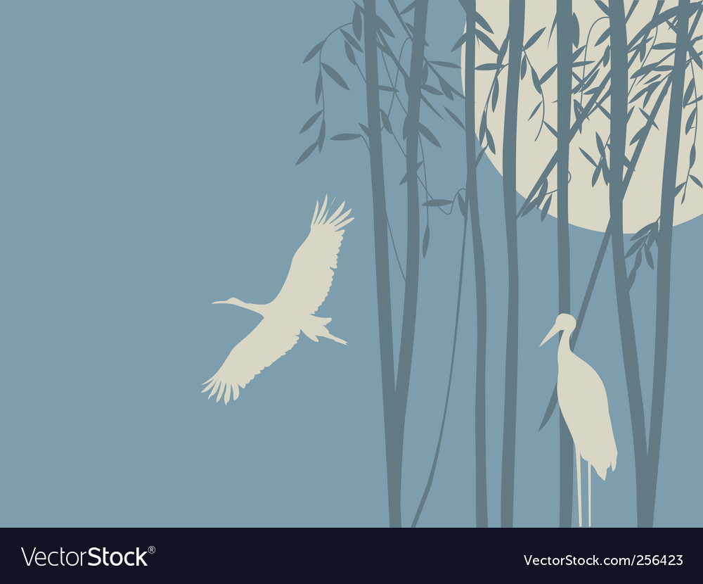 Romantic background with storks vector | Price: 1 Credit (USD $1)