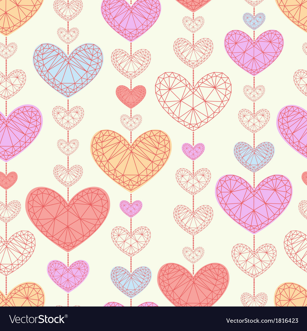 Seamless background with multicolored hearts vector | Price: 1 Credit (USD $1)