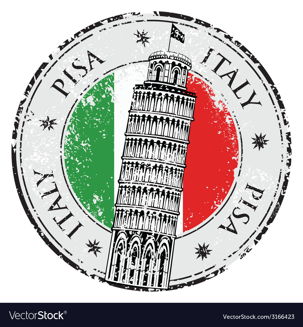 Stamp pisa tower in italy vector | Price: 1 Credit (USD $1)