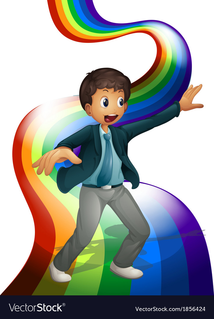 A boy dancing above the rainbow vector | Price: 3 Credit (USD $3)