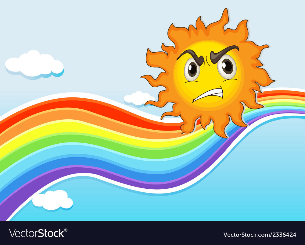 A mad sun near the rainbow vector | Price: 1 Credit (USD $1)