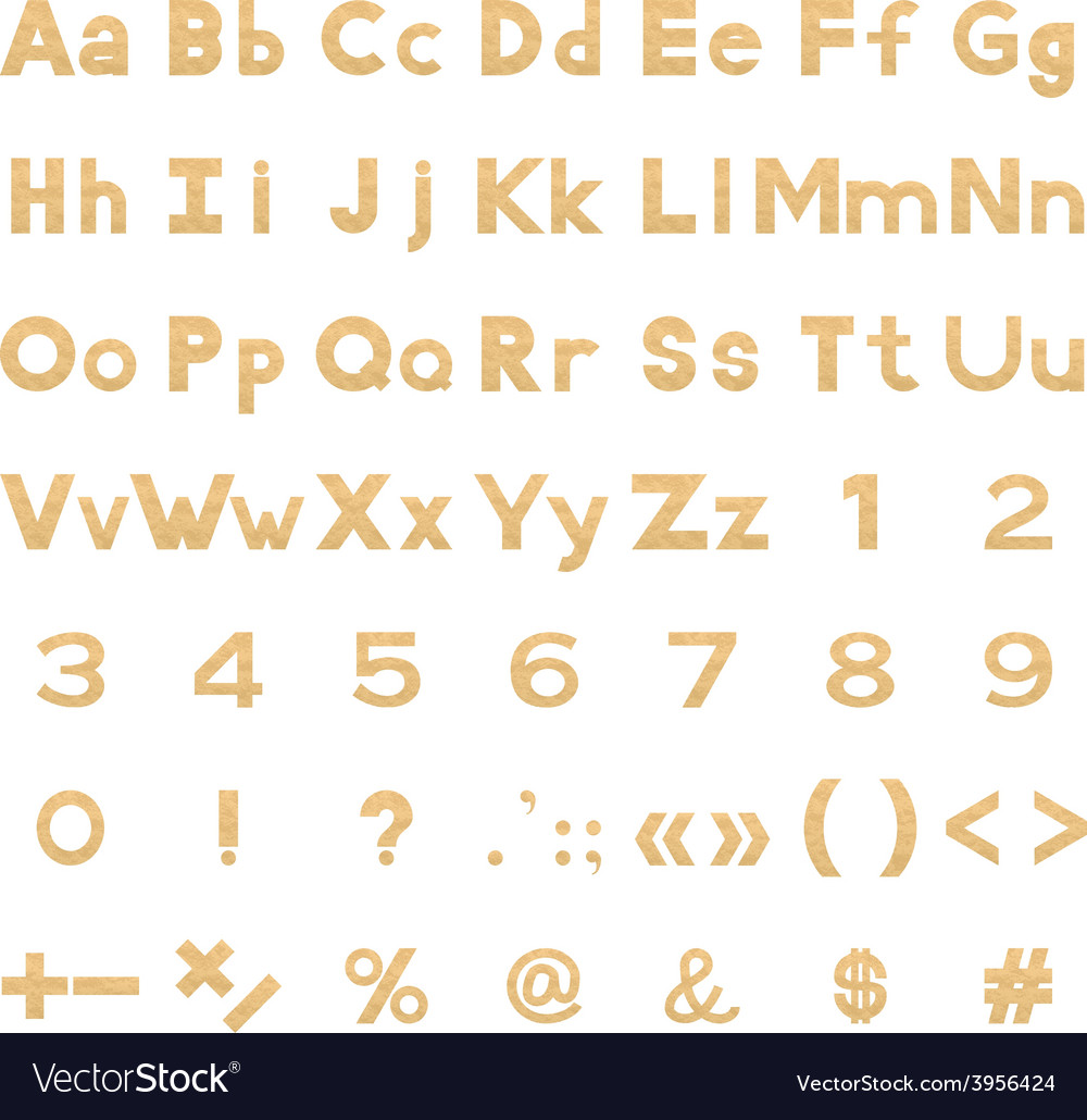 Alphabet numbers and signs set paper vector | Price: 1 Credit (USD $1)