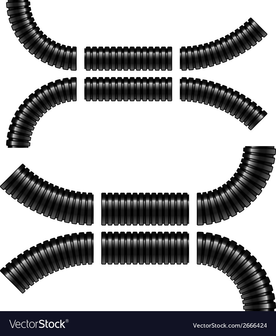 Black corrugated flexible tubes vector | Price: 1 Credit (USD $1)