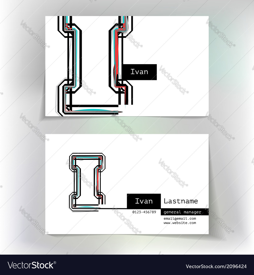 Business card design with letter i vector | Price: 1 Credit (USD $1)