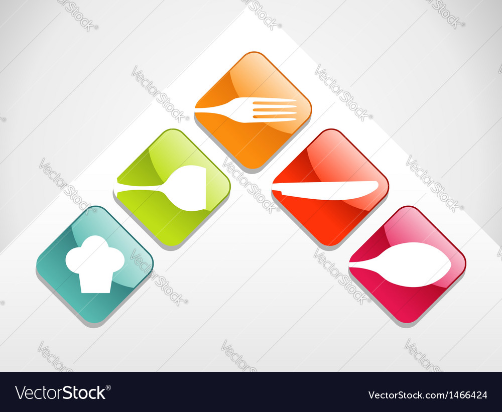 Colorful gourmet icons set vector | Price: 1 Credit (USD $1)