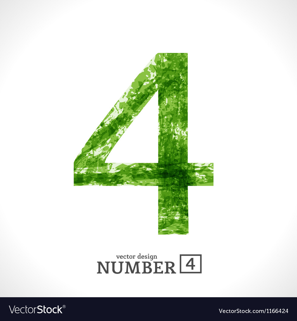 Grunge number 4 vector | Price: 1 Credit (USD $1)