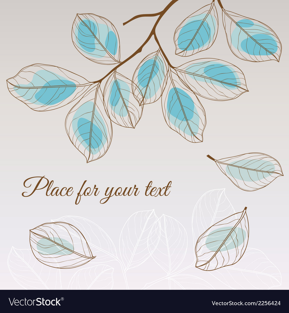 Linden leaf blue style with place for your text vector | Price: 1 Credit (USD $1)
