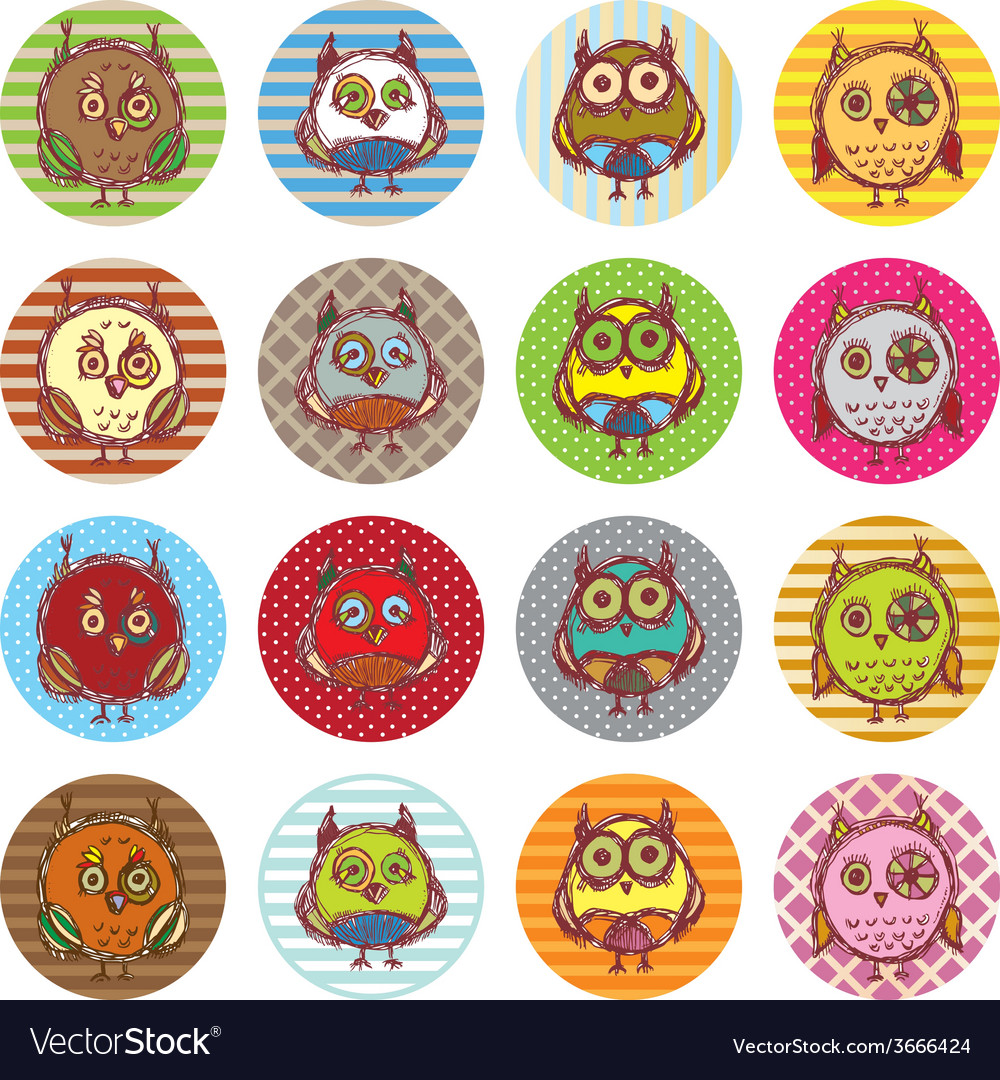 Set of funny owl sketch doodle vector   Price: 1 Credit (USD $1)