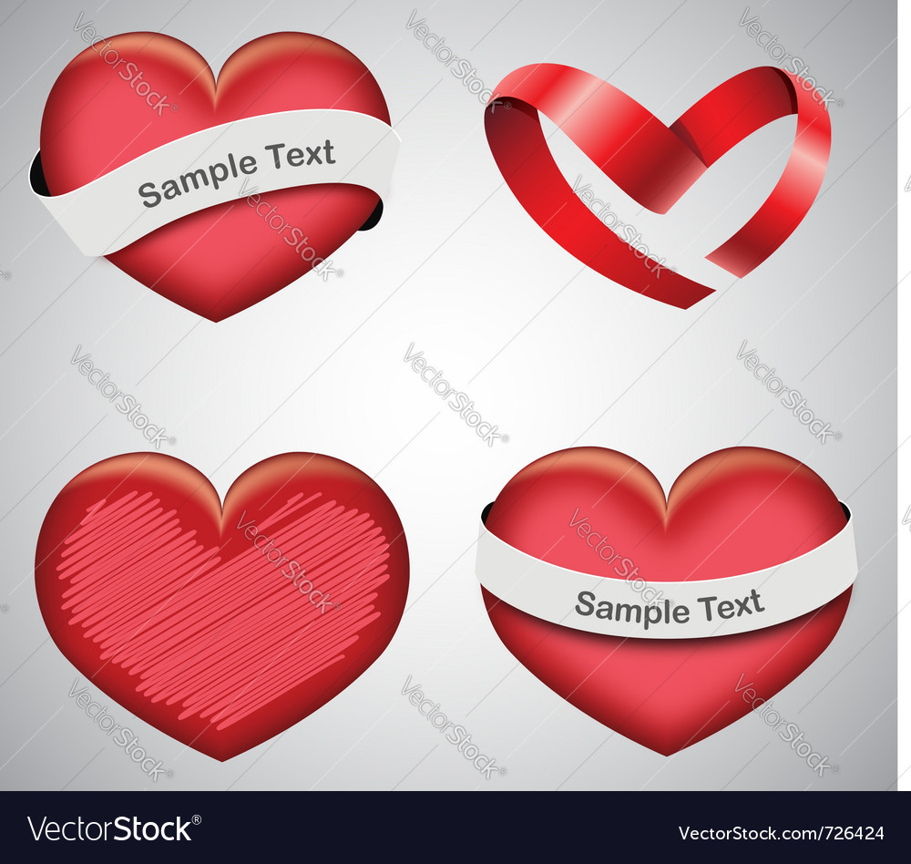 Set of valentines day hearts vector | Price: 1 Credit (USD $1)